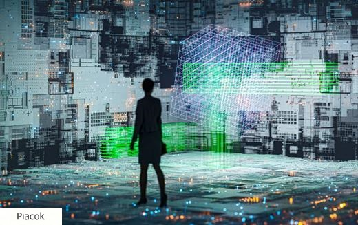 Abstract technology background image with walking businesswoman